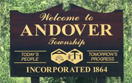 welcome to andover sign, photo courtesy of Bob Smith  click to return to front page