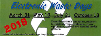 2018 E-waste dates. Click for flier.